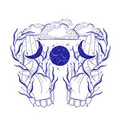 Mystic moon in hand esoteric signmagic life vector