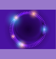 neon led lights abstract violet circles background vector image