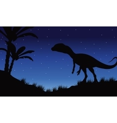One Megapnosaurus in fields of silhouette vector image