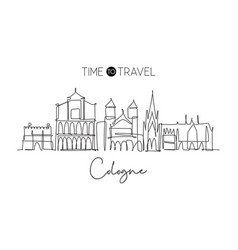 one single line drawing cologne city skyline vector image