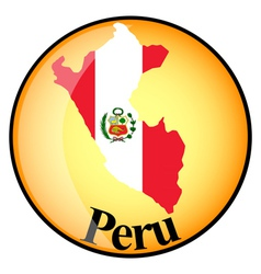 orange button with the image maps of Peru vector image