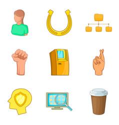 Participant icons set cartoon style vector