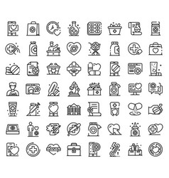 pharmacist icons set outline style vector image