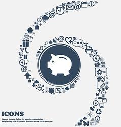 Piggy bank - saving money icon in the center vector