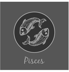 pisces astrological zodiac symbol horoscope sign vector image