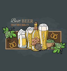 premium banner or emblem with swirls hop and malt vector image