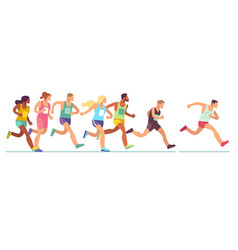 running people men and women in sports vector image