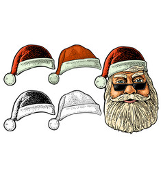santa claus in hat front view vintage vector image