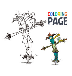 scarecrow and bird cartoon coloring page vector image