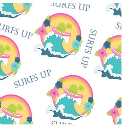 seamless cute turtle pattern vector image