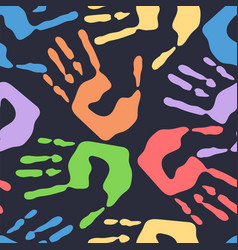 seamless pattern with human handprints colorful vector image