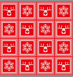 seamless red checkered christmas pattern vector image