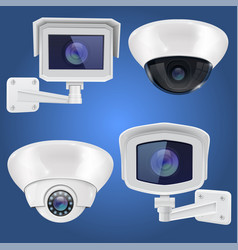 security camera set wall and ceiling mount cctv vector image