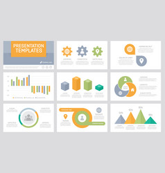 Set grey orange green and turquoise elements vector