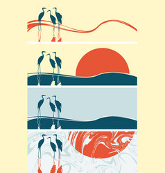 Set of banners with silhouettes of flamingos vector