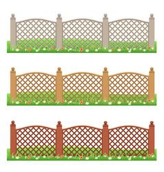 Set of farm or garden fences isolated vector