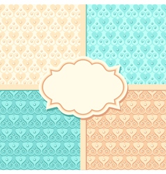 set of wedding seamless patterns and frame vector image