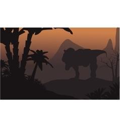 Silhouette of big T-Rex in hills vector image