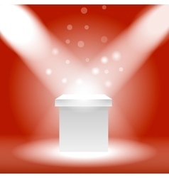 Single empty pedestal or column under the rays vector image