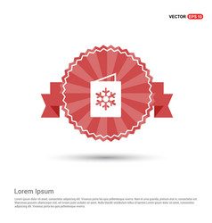 snowflake flat icon - red ribbon banner vector image