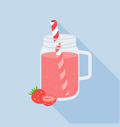 strawberry juice in mason jar flat design vector image