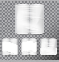 Toilet paper package mock up with transparent vector