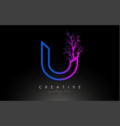 Tree letter u design logo with purple blue tree vector