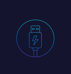 Usb charging plug icon line vector