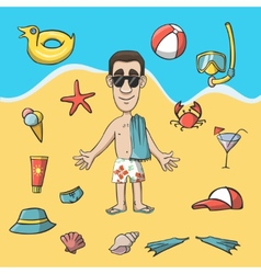 Vacation travel character construction pack vector