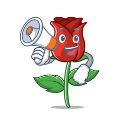 With megaphone red rose character cartoon vector