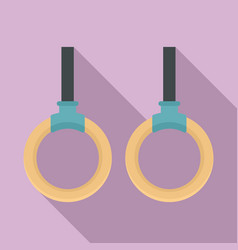 wood sport rings icon flat style vector image