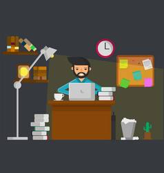 work at night graphic vector image