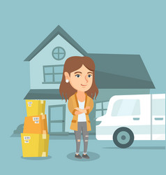Young caucasian woman moving to a new house vector