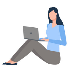 young woman with laptop on floor isolated vector image