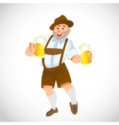 bavarian man with a big glass of beer vector image vector image