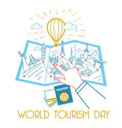 greeting card world tourism day vector image vector image