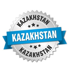 Kazakhstan round silver badge with blue ribbon vector