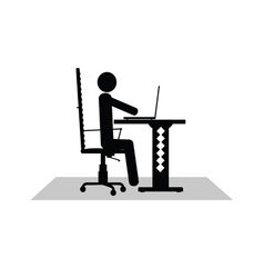 man sitting at the computer vector image