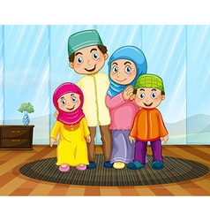 Muslim family in the living room vector image vector image
