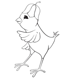 Outline chicken with flower cap vector image vector image