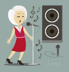 singing girl pop singer vector image