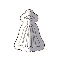 Elegant bride dress icon vector