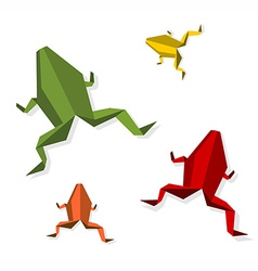 Group of various Origami frog vector image vector image