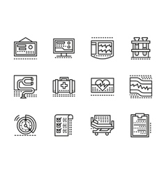 Medical black line icons Cardiology vector image vector image