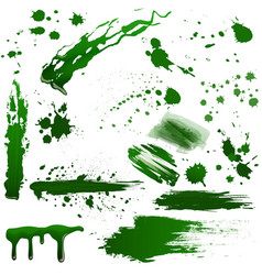 realistic green toxic blood splatters set vector image