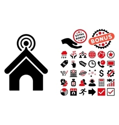 Telecom Office Flat Icon with Bonus vector image