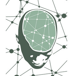 a human head with brain vector image
