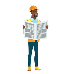 african-american builder reading newspaper vector image vector image