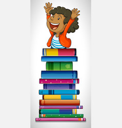 boy with stack of books vector image vector image