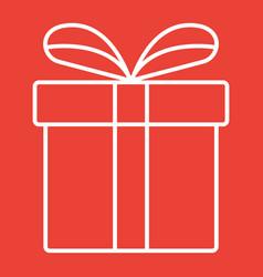 christmas gift box line icon new year vector image